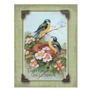 Easter Greetings Blue Bird Vintage Reproduction Postcard