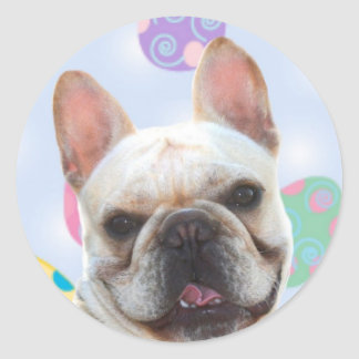 Easter Greetings French Bulldog Classic Round Sticker