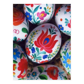 Easter greetings kalocsai eggs postcard