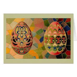 Easter Greetings Painted Eggs Vintage Note Card