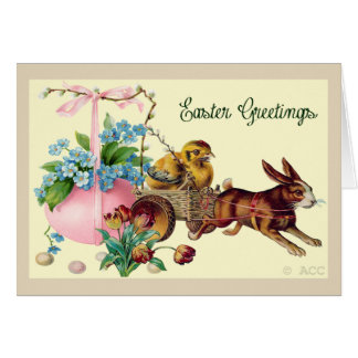 Easter Greetings rabbit, eggs, chick, flowers, bas Card