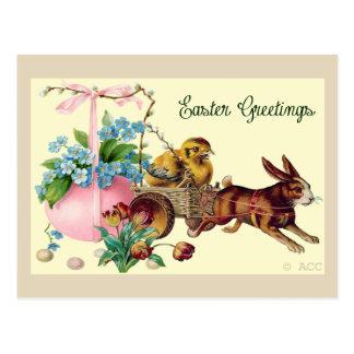 Easter Greetings rabbit, eggs, chick, flowers, bas Postcard