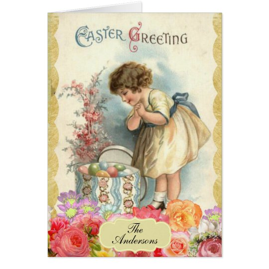 Easter Greetings Vintage Antique Victorian Card