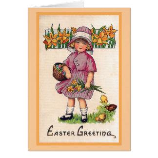 Easter Greetings Vintage Easter Illustration Card