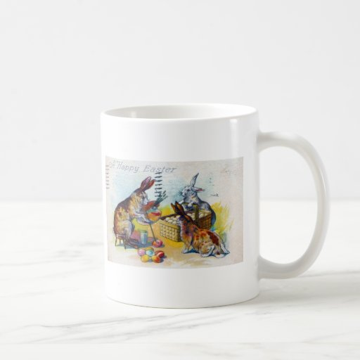 Easter Greetings vintage with rabbit Coffee Mugs