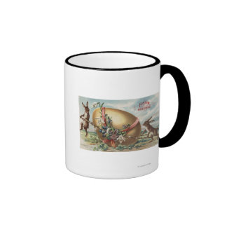 Easter GreetingsRabbits by a Decorated Egg Coffee Mugs