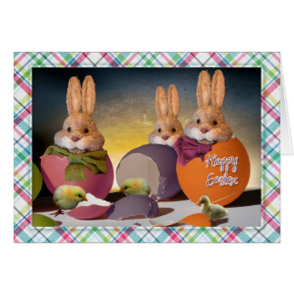 "Easter - ""Happy Easter"" - Bunnies & Chics Card"