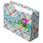 "Easter - ""Happy Easter"" Word Art on Stripes Large Gift Bag"