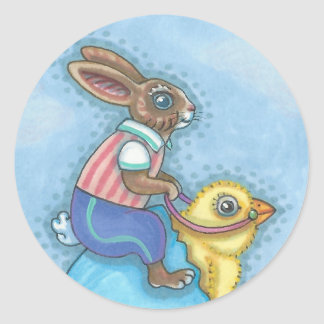 Easter Hare And Chick EASTER BUNNY STICKERS Sheet