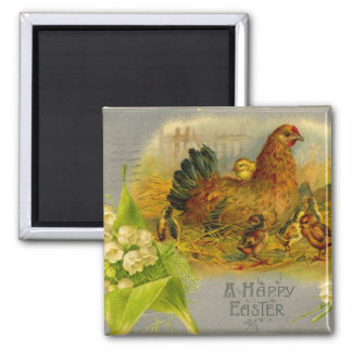 Easter Hen And Chicks Square Magnet