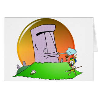 Easter Island Humor Card