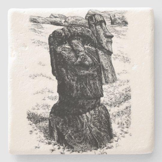 Easter Island moai Stone Coaster