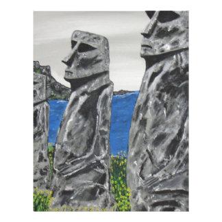 Easter Island Stone Men Letterhead Design