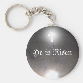 Easter Key Chain He is Risen Light Stream Cross