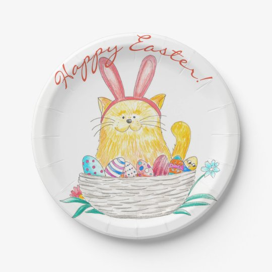 Easter Kitty // Happy Easter 7 Inch Paper Plate