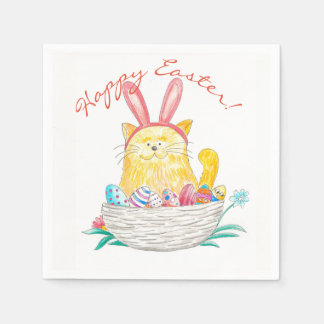 Easter Kitty // Happy Easter Paper Napkin