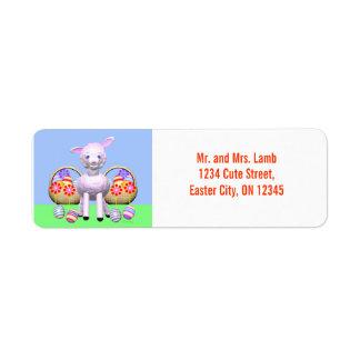 Easter Lamb and Baskets Return Address Label