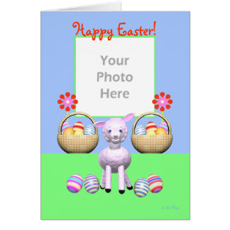 Easter Lamb and Eggs (photo frame) Greeting Card