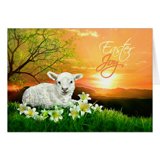 Easter Lamb and Sunrise with Easter Lilies Greeting Card