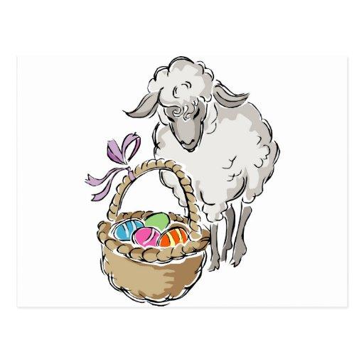 Easter Lamb Basket Postcards