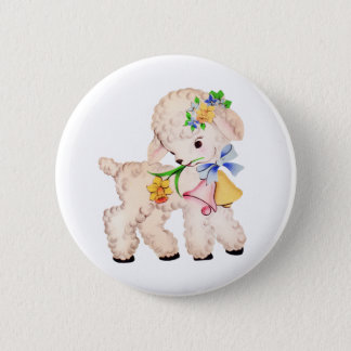 EASTER LAMB VINTAGE 2 INCH ROUND BUTTON