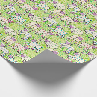 Easter Lambs Pattern on Paisley Wrapping Paper