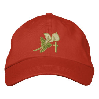 Easter Lilies with Cross Inspirational Embroidered Hat