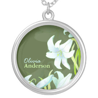 Easter Lilies with Personalized Name Necklace