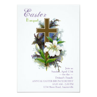 "Easter Lily & Cross Invitation 5"" X 7"" Invitation Card"