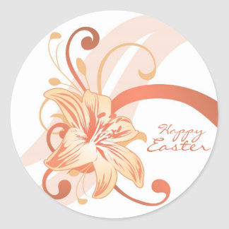 Easter Lily In Orange Classic Round Sticker