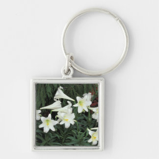 Easter Lily (Lilium regale) Silver-Colored Square Keychain
