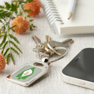 Easter Lily Metal Keyring Silver-Colored Rectangle Keychain