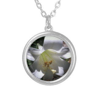 Easter Lily Shadow Silver Plated Necklace