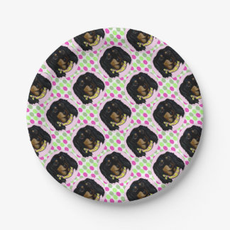 Easter Long Haired Black Dachshund 7 Inch Paper Plate