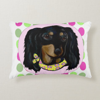Easter Long Haired Black Dachshund Decorative Pillow