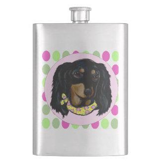 Easter Long Haired Black Dachshund Flasks