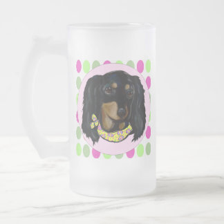 Easter Long Haired Black Dachshund Frosted Glass Beer Mug
