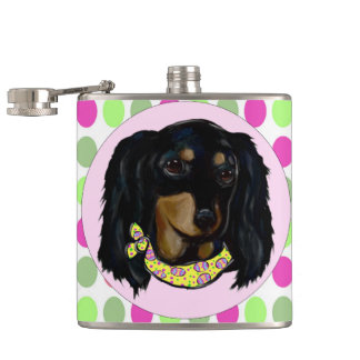 Easter Long Haired Black Dachshund Hip Flask