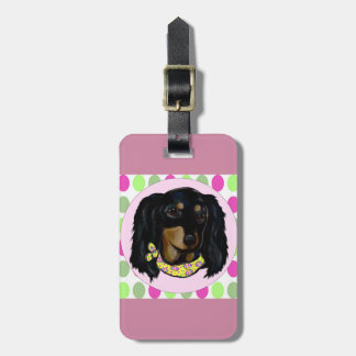 Easter Long Haired Black Dachshund Luggage Tag