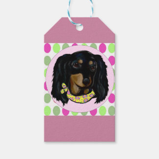 Easter Long Haired Black Dachshund Pack Of Gift Tags