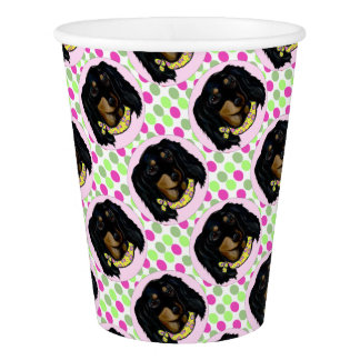 Easter Long Haired Black Dachshund Paper Cup