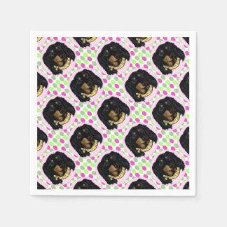 Easter Long Haired Black Dachshund Paper Napkin