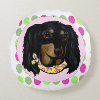 Easter Long Haired Black Dachshund Round Pillow