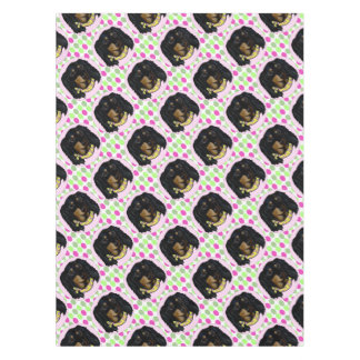 Easter Long Haired Black Dachshund Tablecloth