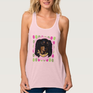 Easter Long Haired Black Dachshund Tank Top