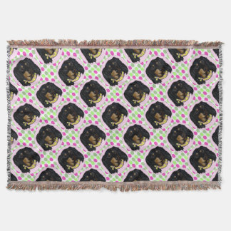 Easter Long Haired Black Dachshund Throw Blanket