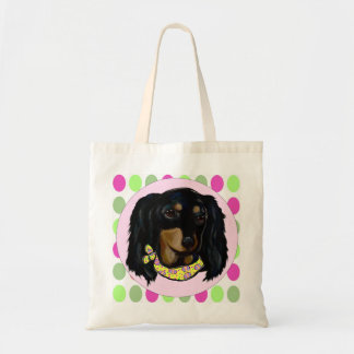 Easter Long Haired Black Dachshund Tote Bag