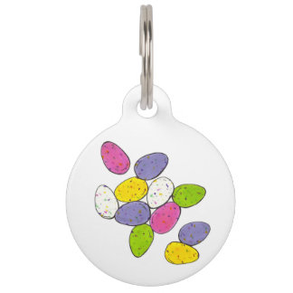 Easter Malted Milk Speckled Egg Candy Purple Pink Pet Name Tag