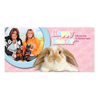 Easter - Min Pin - Zena and Gidget Customized Photo Card