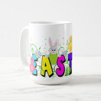Easter Mug - Colorful Text - Bunnies and Chicks